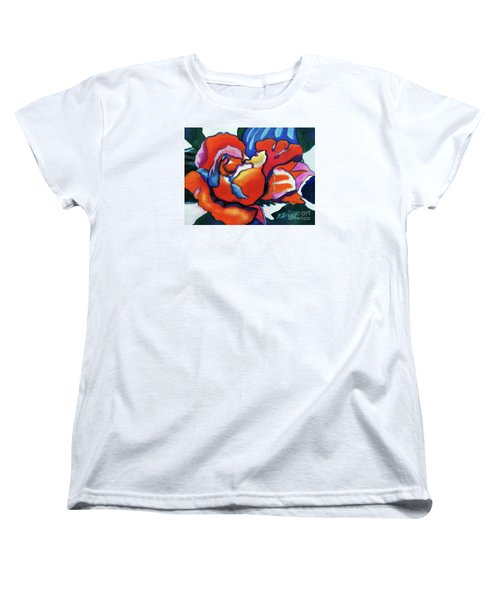 Women's T-Shirt (Standard Cut) featuring the painting Rose In Outline by Kathy Braud