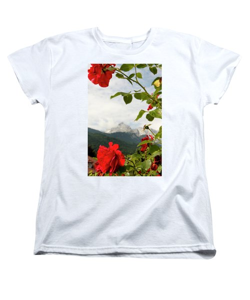 Women's T-Shirt (Standard Cut) featuring the photograph Roses Of The Zugspitze by KG Thienemann