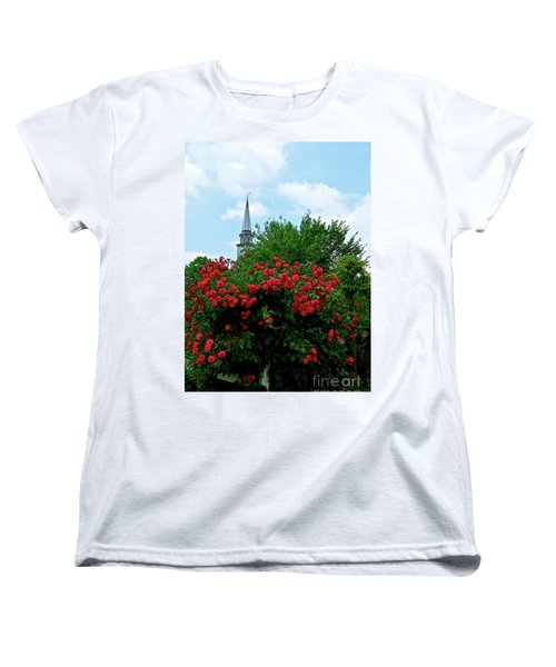 Roses On The Fence In Mauricetown Women's T-Shirt (Standard Cut) by Nancy Patterson