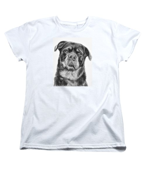 Rottweiler Drawing Titled Mama Women's T-Shirt (Standard Cut) by Kate Sumners