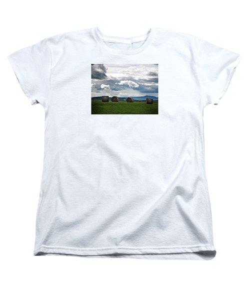 Round Bales Under A Cloudy Sky Women's T-Shirt (Standard Cut) by Joy Nichols