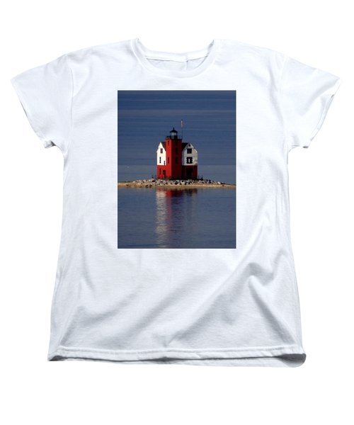 Round Island Lighthouse In The Morning Women's T-Shirt (Standard Cut) by Keith Stokes