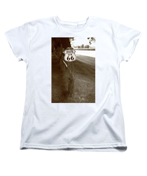 Women's T-Shirt (Standard Cut) featuring the photograph Route 66 Shield And Fence Sepia Post by Frank Romeo