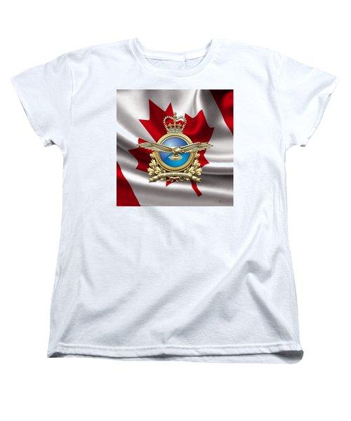 Royal Canadian Air Force Badge Over Waving Flag Women's T-Shirt (Standard Cut) by Serge Averbukh