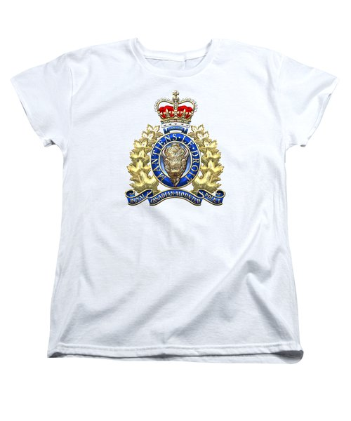 Royal Canadian Mounted Police - Rcmp Badge On White Leather Women's T-Shirt (Standard Cut) by Serge Averbukh