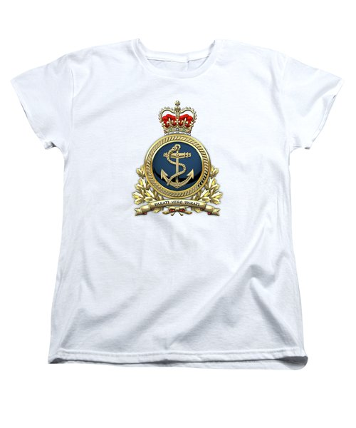 Women's T-Shirt (Standard Cut) featuring the digital art Royal Canadian Navy  -  R C N  Badge Over White Leather by Serge Averbukh