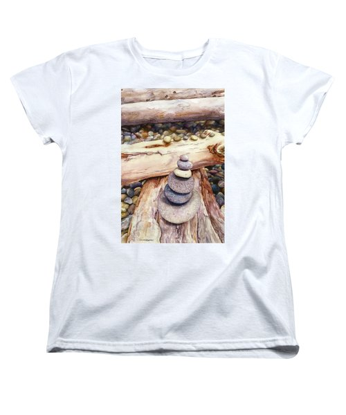 Women's T-Shirt (Standard Cut) featuring the painting Ruby Beach by Anne Gifford