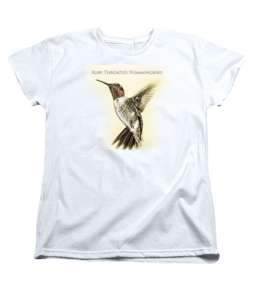 Ruby Throated Hummingbird Women's T-Shirt (Standard Cut) by Barry Jones