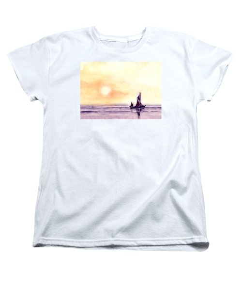 Women's T-Shirt (Standard Cut) featuring the painting Sailing by Anil Nene