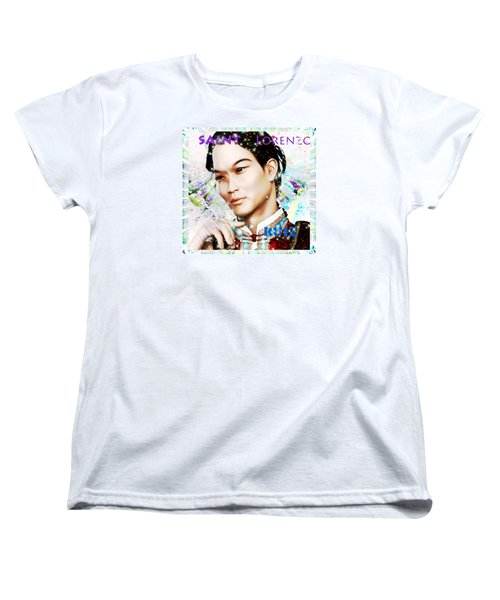 Women's T-Shirt (Standard Cut) featuring the painting Saint Lorenzo Ruiz Of The Philippines by Suzanne Silvir