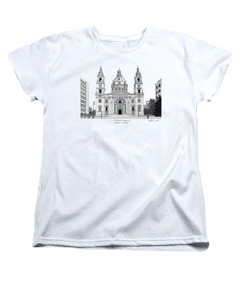 Women's T-Shirt (Standard Cut) featuring the drawing Saint Stephens Basilica by Frederic Kohli