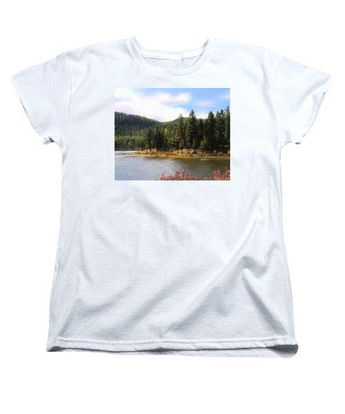 Women's T-Shirt (Standard Cut) featuring the painting Salmon Lake Montana by Susan Kinney