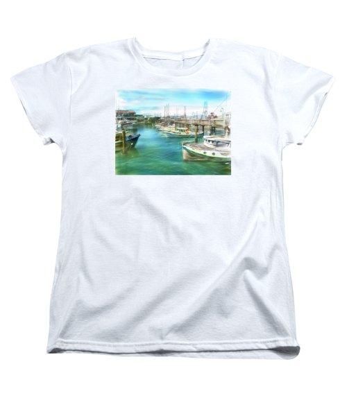 Women's T-Shirt (Standard Cut) featuring the digital art San Francisco Fishing Boats by Michael Cleere