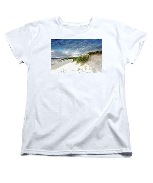 Sand And Surfing Women's T-Shirt (Standard Cut) by Charles Shoup