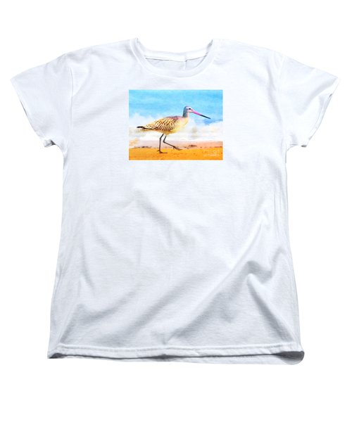 Women's T-Shirt (Standard Cut) featuring the painting Sand Between My Toes ... by Chris Armytage