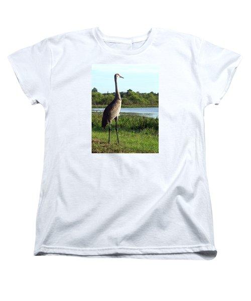 Sandhill Crane 019 Women's T-Shirt (Standard Cut) by Chris Mercer