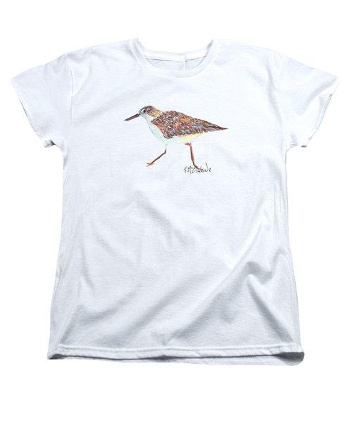Sandpiper Bird Women's T-Shirt (Standard Cut) by Kathleen McElwaine