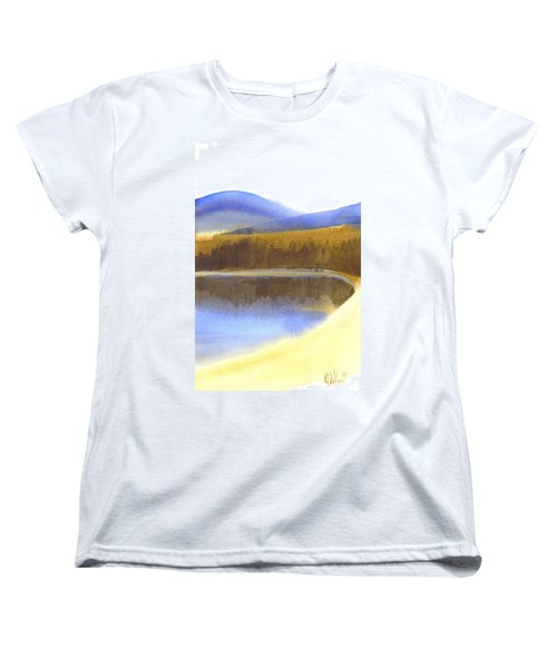 Women's T-Shirt (Standard Cut) featuring the painting Sandy Blue Dusky Mountain Lake by Kip DeVore