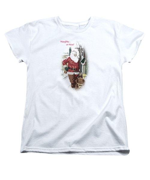 Santa's Checklist Women's T-Shirt (Standard Cut) by Ellen O'Reilly
