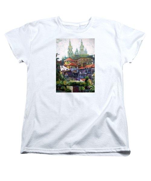 Women's T-Shirt (Standard Cut) featuring the painting Santiago  Spain by Paul Weerasekera
