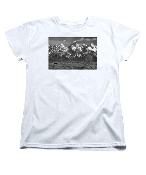 Scenic Mormon Homestead Black And White Women's T-Shirt (Standard Cut) by Adam Jewell
