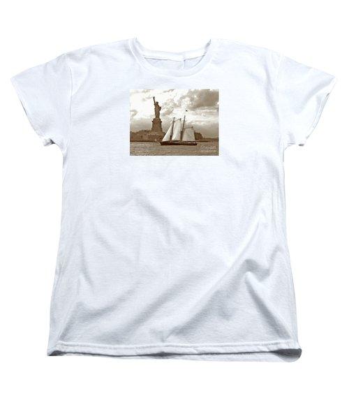 Schooner At Statue Of Liberty Twurl Women's T-Shirt (Standard Cut) by Tom Wurl