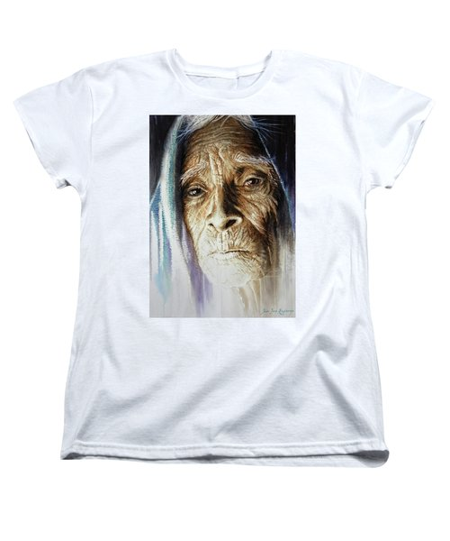 Women's T-Shirt (Standard Cut) featuring the painting Scripts Of Ancestral Light  by J- J- Espinoza