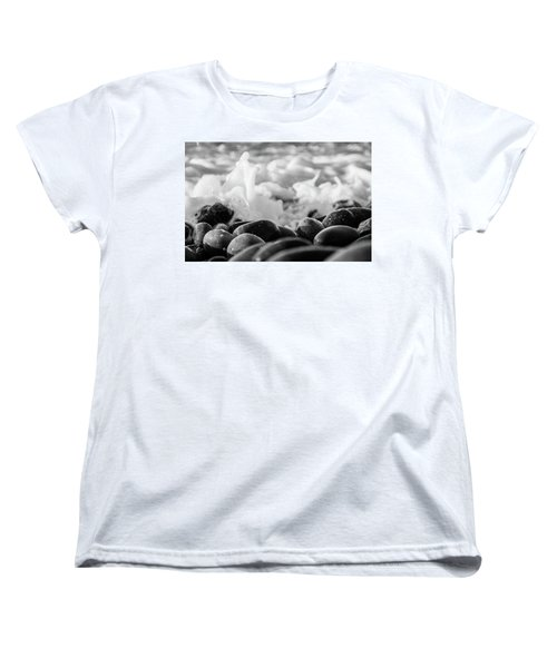 Women's T-Shirt (Standard Cut) featuring the photograph Sea Foam B-w by Sergey Simanovsky