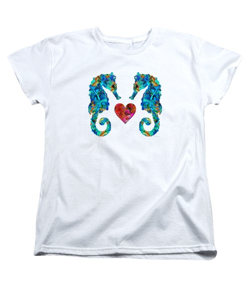 Sea Lovers - Seahorse Beach Art By Sharon Cummings Women's T-Shirt (Standard Cut) by Sharon Cummings