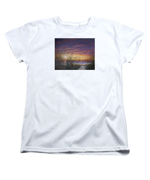 Women's T-Shirt (Standard Cut) featuring the painting Sea Oat Sunrise # 3 by Kathleen McDermott
