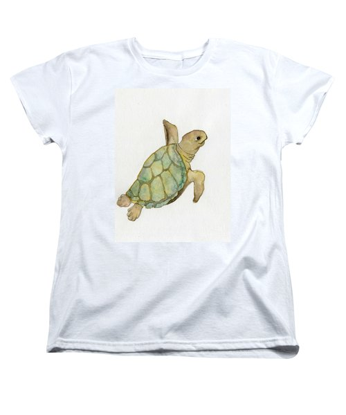 Women's T-Shirt (Standard Cut) featuring the painting Sea Turtle by Annemeet Hasidi- van der Leij