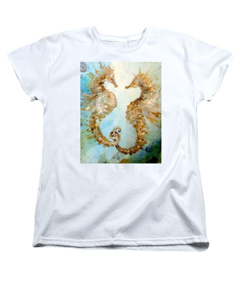 Women's T-Shirt (Standard Cut) featuring the painting Seahorses In Love 2016 by Dina Dargo