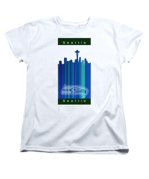Seattle Sehawks Skyline Women's T-Shirt (Standard Cut) by Alberto RuiZ