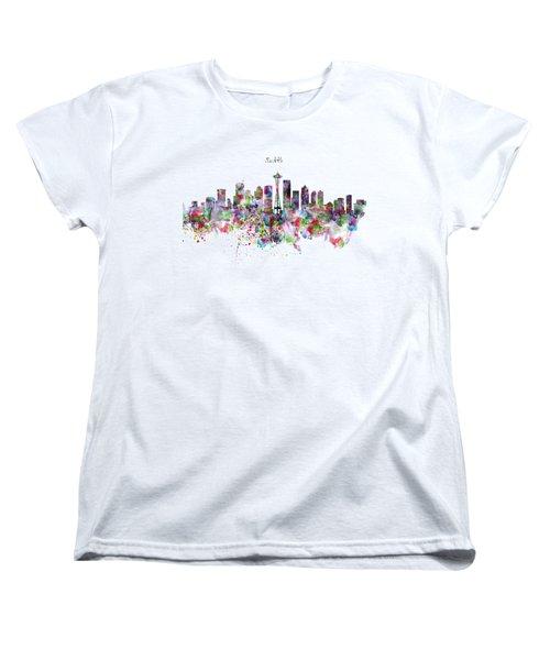 Seattle Skyline Silhouette Women's T-Shirt (Standard Cut) by Marian Voicu