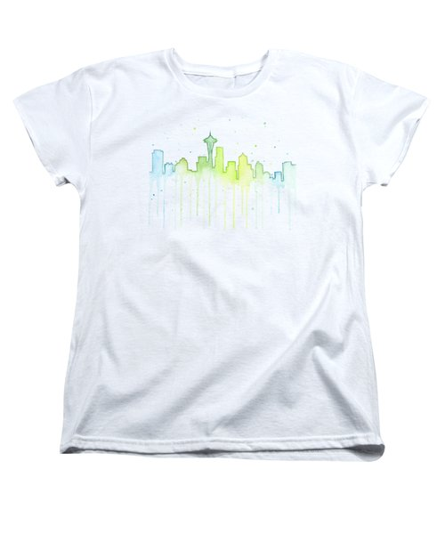 Seattle Skyline Watercolor  Women's T-Shirt (Standard Fit)