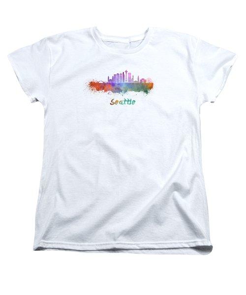 Seattle V2 Skyline In Watercolor Women's T-Shirt (Standard Cut) by Pablo Romero