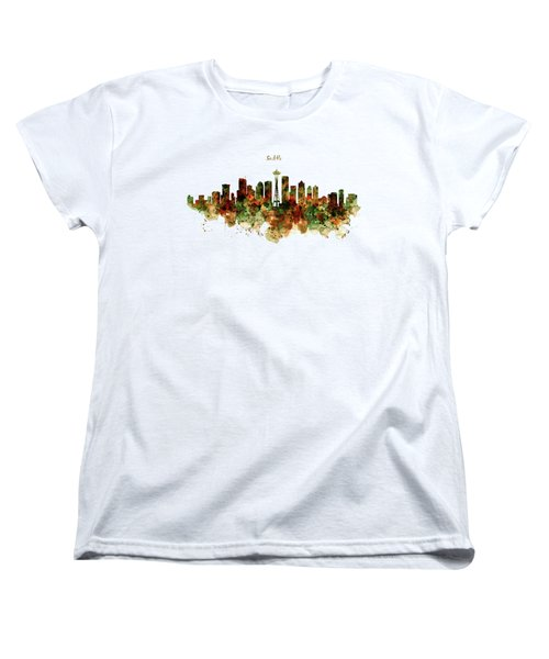 Women's T-Shirt (Standard Cut) featuring the mixed media Seattle Watercolor Skyline Poster by Marian Voicu