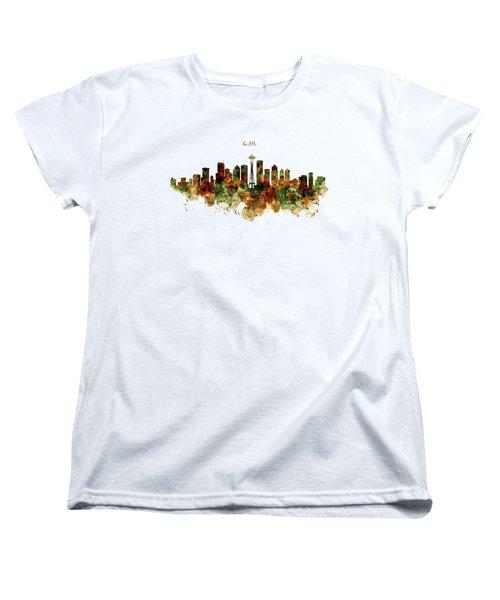Seattle Watercolor Skyline Poster Women's T-Shirt (Standard Cut) by Marian Voicu