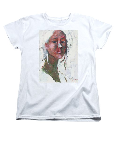 Women's T-Shirt (Standard Cut) featuring the painting Self Portrait 1503 by Becky Kim