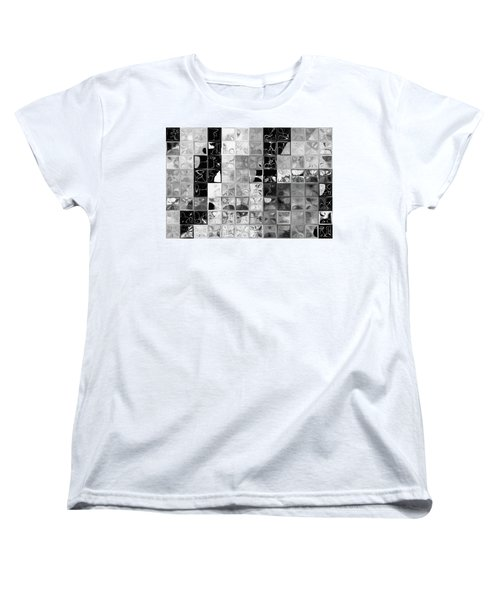 Shades Of Gray Tile Mosaic. Tile Art Painting Women's T-Shirt (Standard Cut) by Mark Lawrence