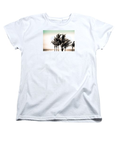Shades Of Palms - Aqua Brown Women's T-Shirt (Standard Cut) by Colleen Kammerer
