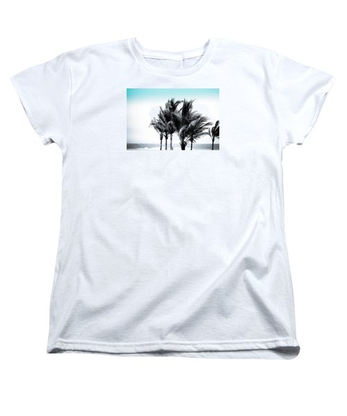 Shades Of Palms - Silver Blue Women's T-Shirt (Standard Cut) by Colleen Kammerer