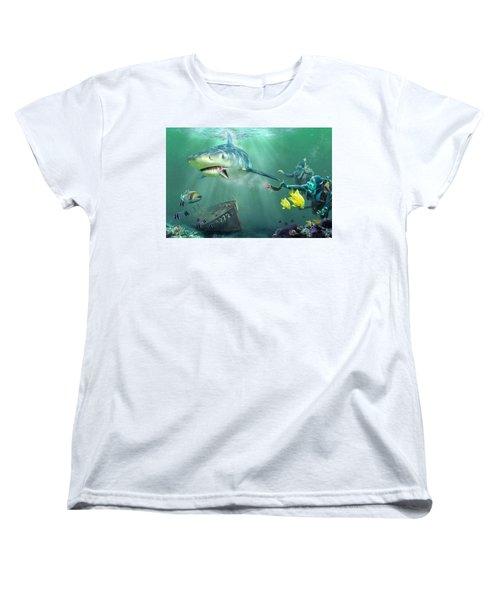Shark Bait Women's T-Shirt (Standard Cut) by Don Olea