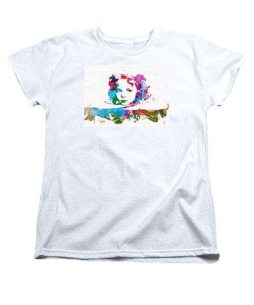 Shirley Temple Watercolor Paint Splatter Women's T-Shirt (Standard Cut) by Dan Sproul