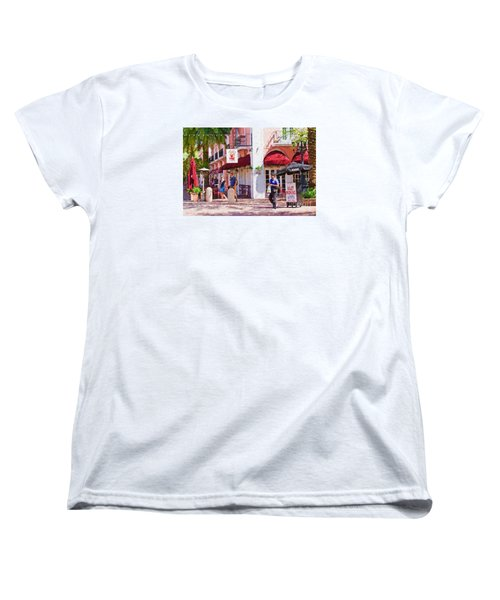 Women's T-Shirt (Standard Cut) featuring the painting Shop Til You Drop  by Judy Kay