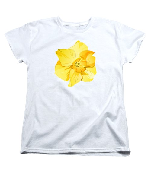 Women's T-Shirt (Standard Cut) featuring the digital art Short Trumpet Daffodil In Yellow by MM Anderson