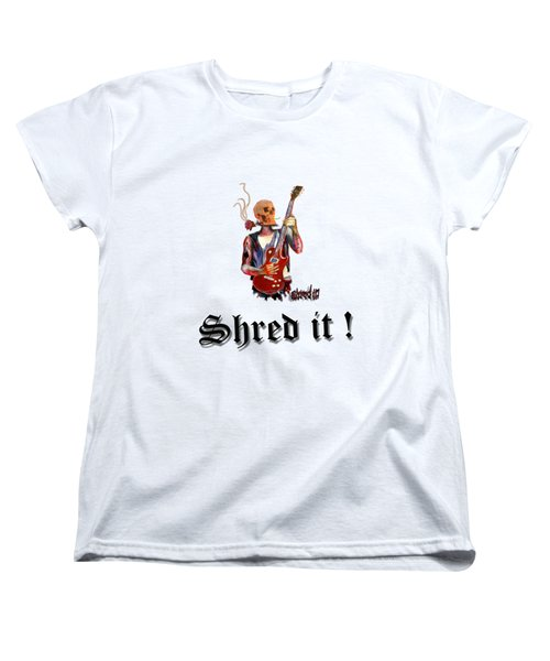 Shred It Skull Guitarist Version 2 Women's T-Shirt (Standard Cut) by Tom Conway