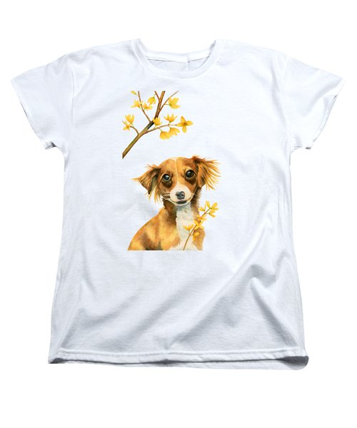 Signs Of Spring - Cute Dog With Forsythia Watercolor Painting Women's T-Shirt (Standard Fit)