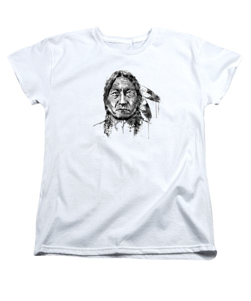 Women's T-Shirt (Standard Cut) featuring the mixed media Sitting Bull Black And White by Marian Voicu