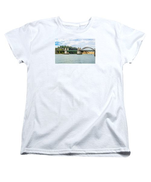 Women's T-Shirt (Standard Cut) featuring the tapestry - textile Siuslaw River Draw Bridge  by Dennis Bucklin